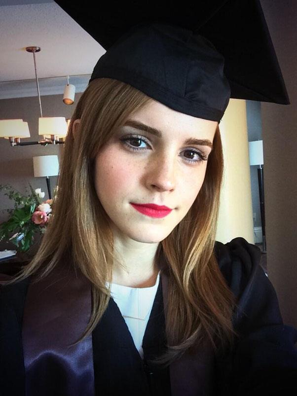 Emma Watson shared a snap on Twitter from her graduation ceremony. <br><em>Image: Emma Watson/Twitter</em>