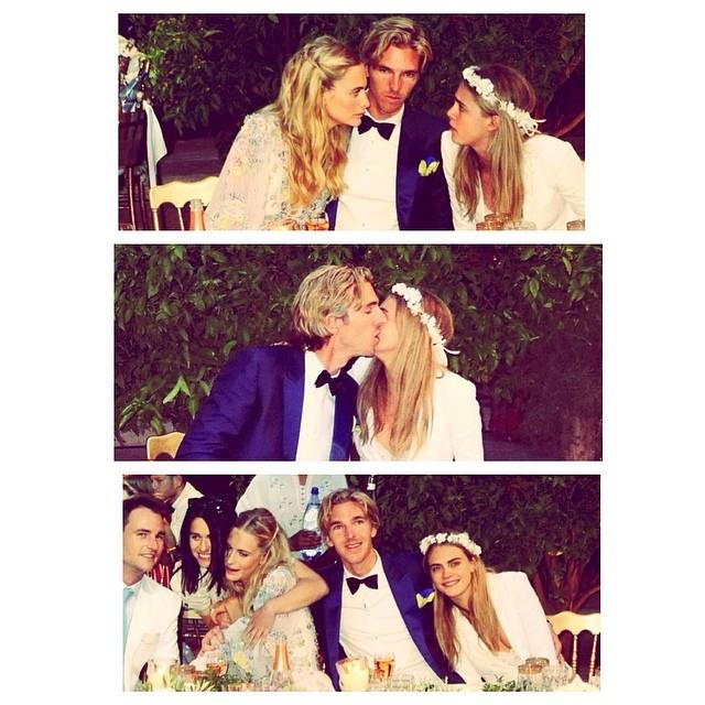 Poppy Delevingne with husband James Cook and sister Cara.