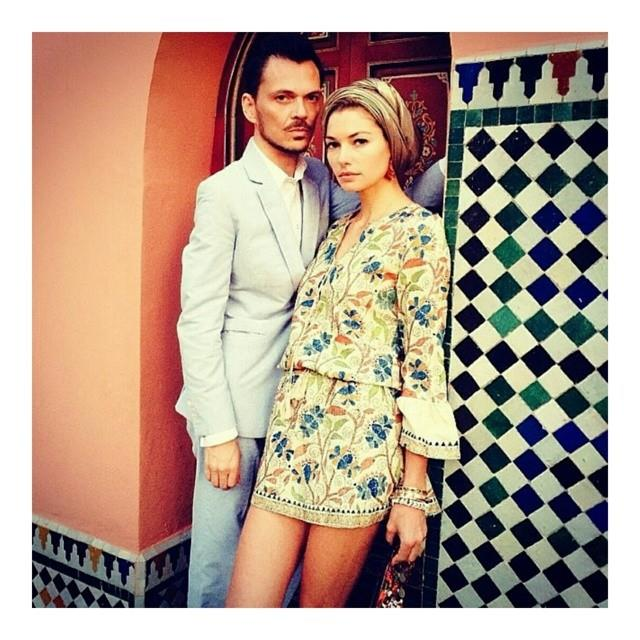 """Matthew Williamson with Australian supermodel Jessica Hart, who donned an ultra-chic mini-dress and turban. <br> <a href=""""http://instagram.com/matthewwilliamson"""">@matthewwilliamson</a>"""