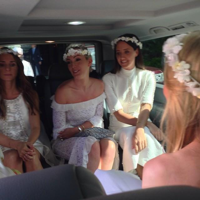 """Peter Dundas snaps a shot of the bridesmaids wearing all-white.  <br> <a href=""""http://instagram.com/peter_dundas"""">@peter_dundas</a>"""