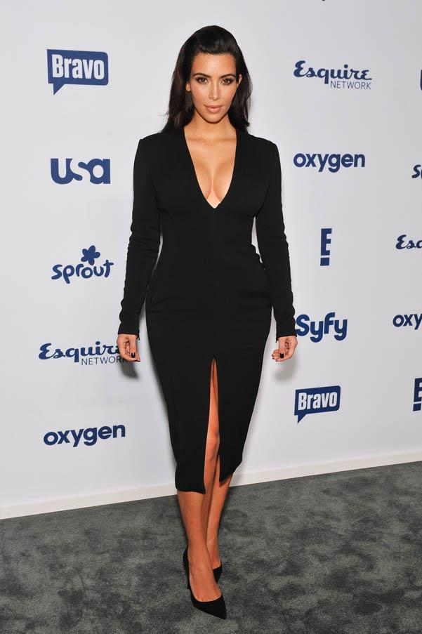 In an ultra-flattering v-neck black dress while attending the 2014 NBCUniversal Cable Entertainment Upfronts on Thursday May 15.