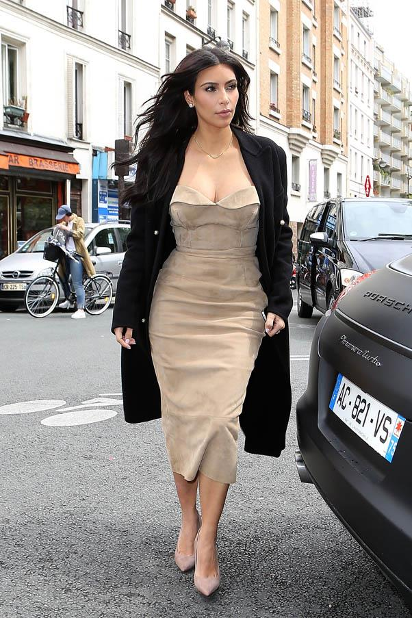 In a suede camel dress on the streets of Paris, on May 21.