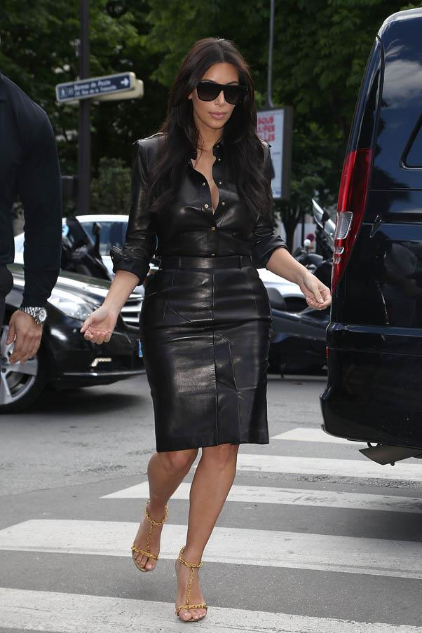 In a leather dress while shopping in Paris on May 22.