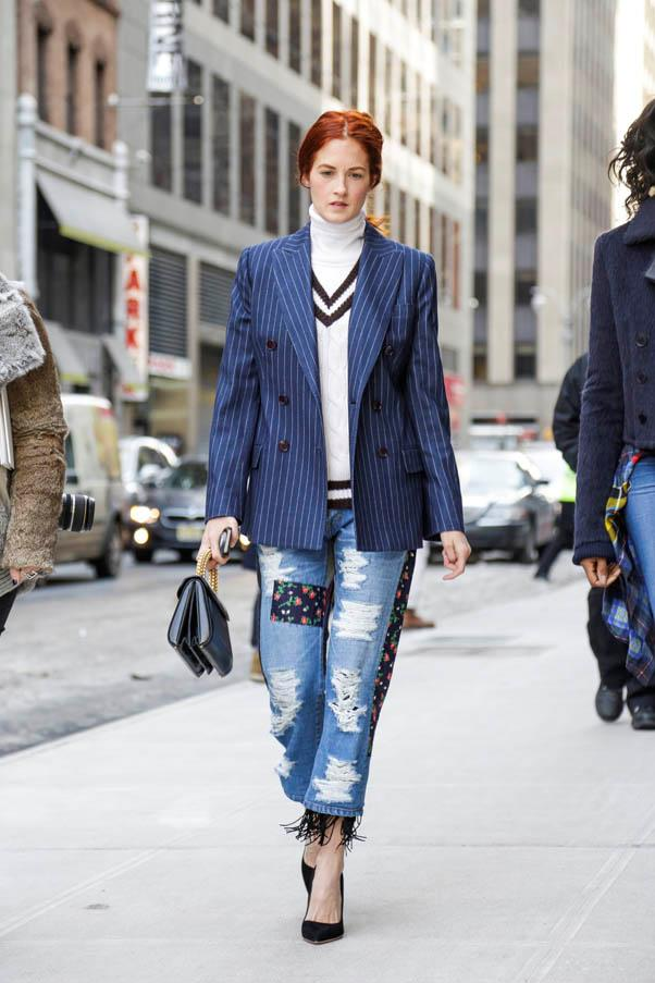<strong>Borrow from the boyfriend</strong> <br>Taylor Tomasi Hill added bohemian edge with a fringed, patched version.