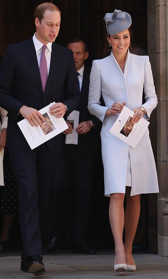 In a dove blue Alexander McQueen coat, Jane Taylor hat and L.K Bennett 'Harper' court shoes to to attend an Easter Sunday Service at St Andrew's Cathedral in Sydney on April 20.