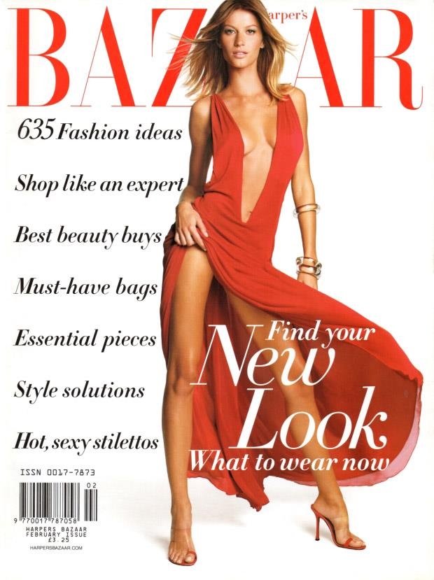 Red-hot on the cover of the February 2002 issue of US Harper's BAZAAR.