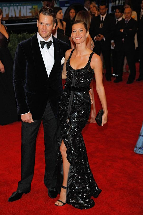 In Givenchy Haute Couture at the Met Gala 2012 with husband Tom Brady.