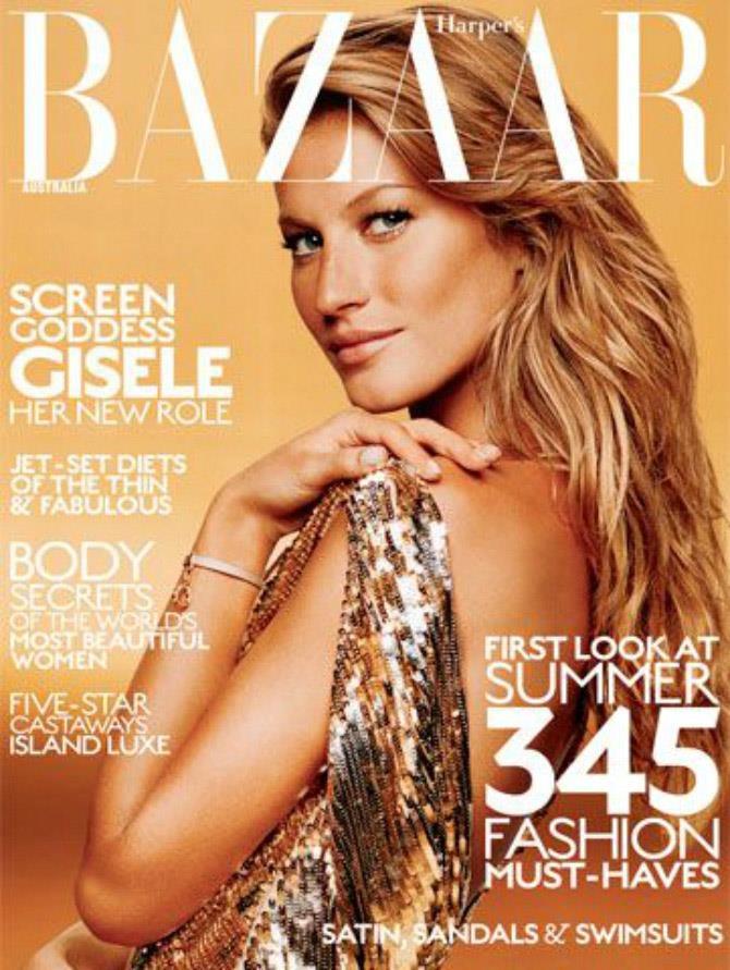 Golden girl for Harper's BAZAAR Australia's October 2004 issue.