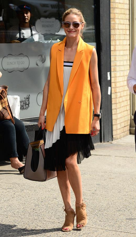 <strong>Bright layering pieces</strong> <br>Vests and jackets work amazingly as layering pieces over your classic staples, and coloured versions add extra dimension to neutral palettes. <br><em>Olivia Palermo</em>