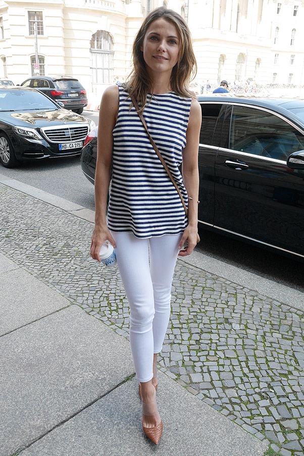 <strong>Breton stripes</strong> <br>Short-sleeved, long-sleeved, thick stripes or thin, there's a reason why breton stripes are one of France's most popular designs - they're oh-so-chic. <br><em>Keri Russell</em>