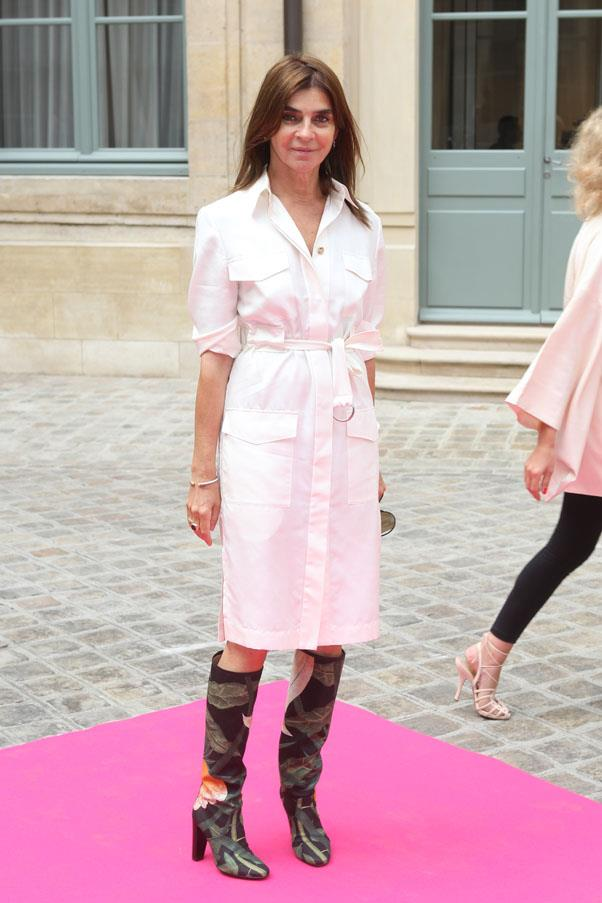 <strong>A shirtdress</strong> <br>A well-cut shirtdress in a classic shade (think neutral like cream, black, khaki or camel) can be easily dressed up or down, for day or night. <br><em>Carine Roitfeld</em>