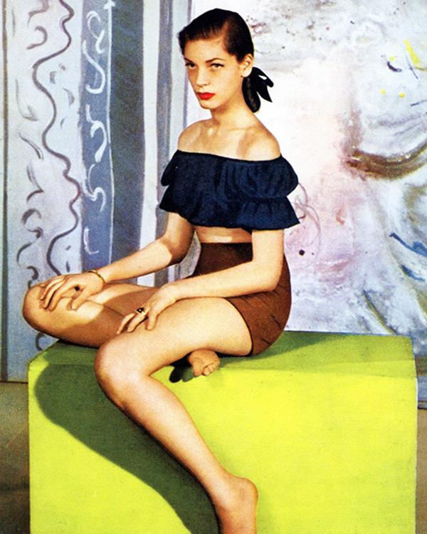 """You can't always be a leading lady."" <br><br><em>Bacall's March 1943 cover shoot for US Harper's BAZAAR. </em>"