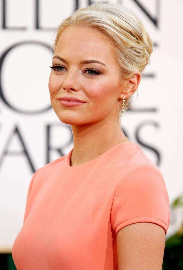 Stone chose a swept-back look at the Golden Globes in 2011.