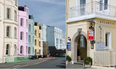 The pastel-coloured houses of Tenby and Atlantic Hotel.