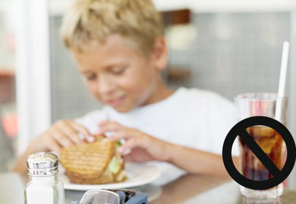 Don't feed them foods that they can't use. There are 161 calories in a 375g can of cola which contain little if no nutritional value (sugar, colour, food acid and caffeine) where as a whole wheat muffin contains the similar calories but has six grams of protein (that helps to satisfy hunger), 4.4 grams of fibre (to keep them regular), 175g of calcium (for growing bones) 1.6g of iron (for healthy blood) and traces of most of the B group vitamins needed for bodily functions.
