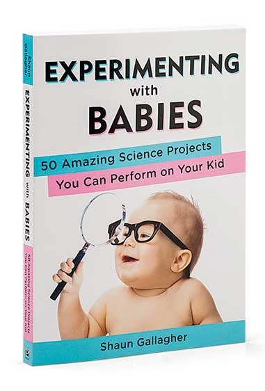 "***NEW SCIENCE PROJECT?***   Get your geeky guy more interactive with junior if he's not sure what to do around a newborn or how to baby talk without getting bored. [This book](http://www.thinkgeek.com/homeoffice/books/?icpg=gy_1768&pfm=Search&t=experimenting%20with%20babies/|target=""_blank"") lets him explore the world of a child in a whole new way – through (harmless) play 'projects' that show things like how a baby's sense of humour develops with age etc."