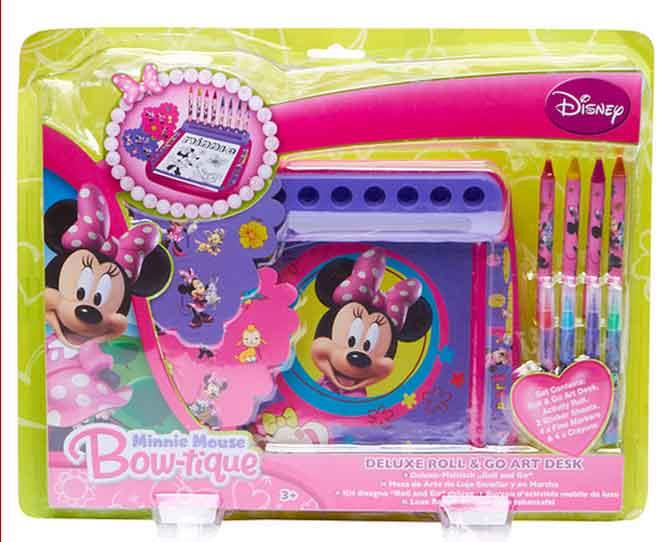 UNDER $10  Promote creativity and keep all their art gear together – win, win! Disney Minnie Mouse Bowtique Deluxe Roll & Go Art Desk, $6, target.com.au