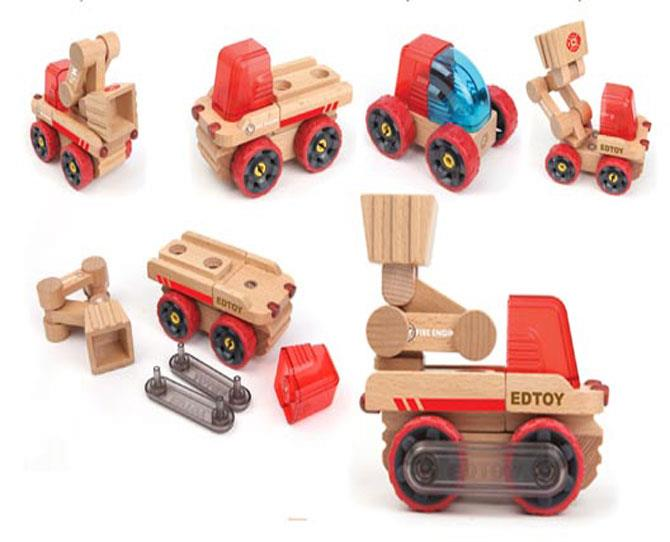 UNDER $25  The Transformobile Fire Truck, $24.95 by Edtoy will encourage creative building as they can interchange rotating magnetised pieces to make six different mini vehicles.