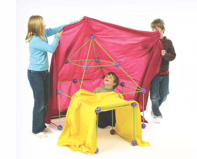 """Let the kids have fun building their own fort with these super-cool connectors from [Crazy Forts](http://www.crazyforts.com/