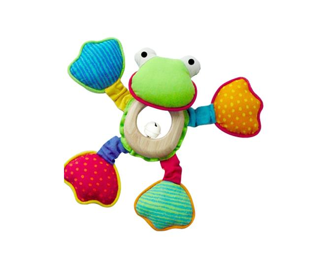 Toy Froggy is a challenging and educational toy for baby's first year, consisting of a mirror body, rattle head and squeaker. Made from environmentally friendly materials.  $24.95 from Peanut Gallery