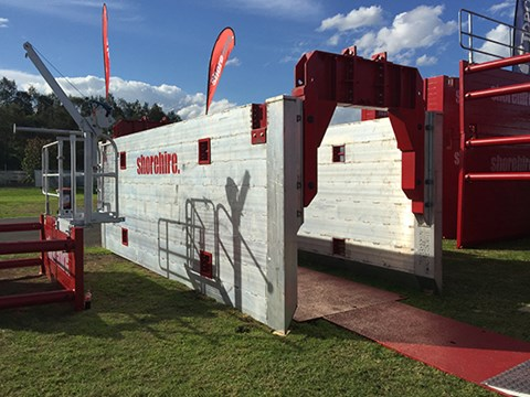 Shorehire's stand focussed on trench safety products, like this aluminium shoring system.