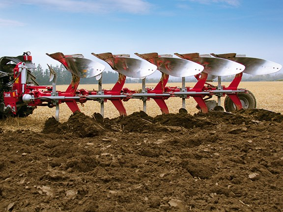 The Agrolux five furrow plough makes for clean work in this wheat stubble paddock with sticky soil.