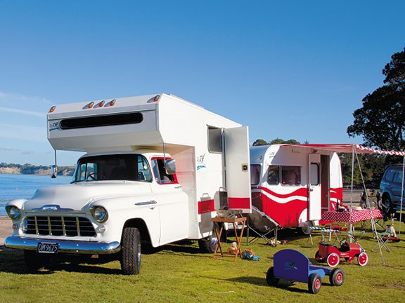 Vintage Chevrolet camper and caravan