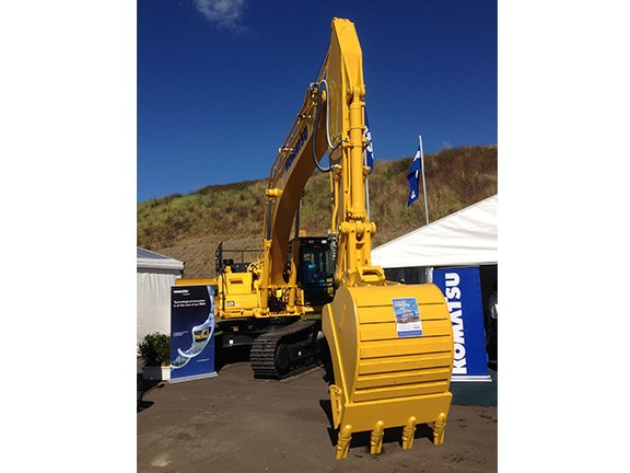 The Komatsu HB335 LC hybrid excavator, which uses an Ultra Capacitor-based slew-energy regeneration system to to deliver fuel savings and environmental benefits.