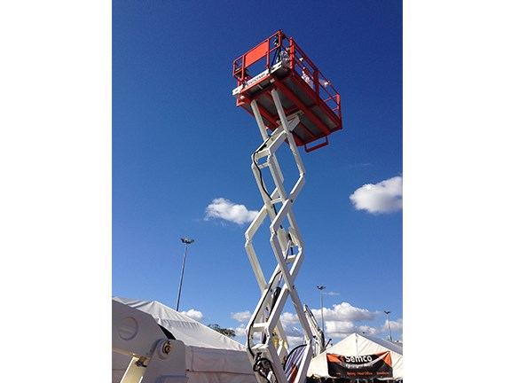 Videographer Andrew Britten goes to great heights atop a Snorkel S2770RT elevated work platform (EWP).
