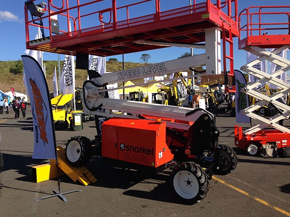 Ahern showed off the Snorkel Speed Level sigma lift, which auto-levels without the need for outriggers.