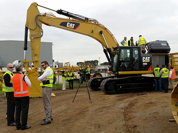 The Caterpillar 336E Hybrid being demoed at Melbourne distributorship William Adams.
