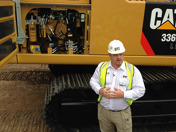 Caterpillar Hydraulic Excavator Product Application Specialist Kit Kyarsgaard explains the hybrid tech.