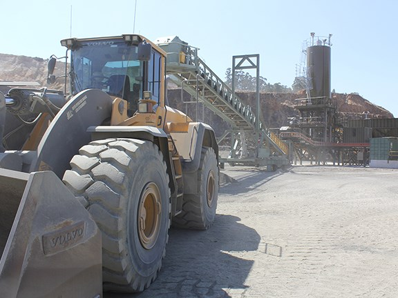 A Volvo wheel loader at Matthews Quarries in Gippsland, Victoria.