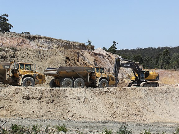 Volvo earthmoving equipment at Matthews Quarries in Gippsland, Victoria.