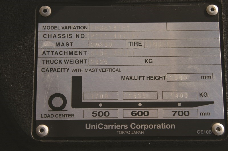 TCM forklifts F1 series info plate