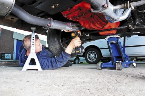 Use an impact wrench or ball joint separators to reduce tugging