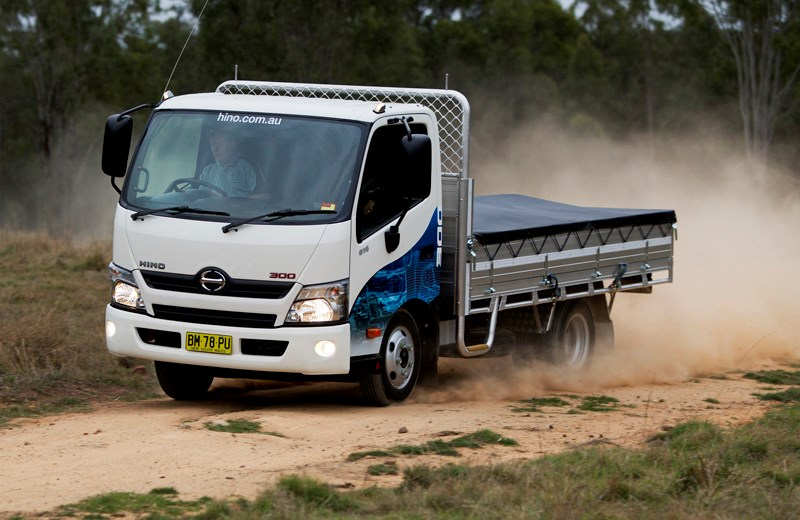 Australian Rally Champion Neal Bates was on hand to give a demonstration of the hino 300 series Vehicle Stability Control.