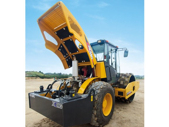 The XCMG XS122PD's powered bonnet helps prevent back strain.