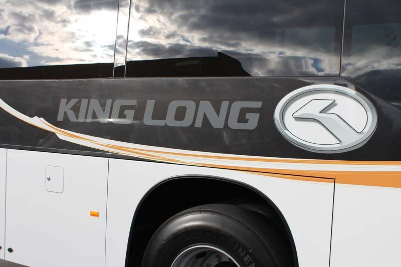 The Long King 6122 bus in its 'racing stripes'.
