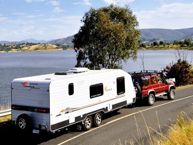 Nova Caravans Pride 2011 being towed on the road