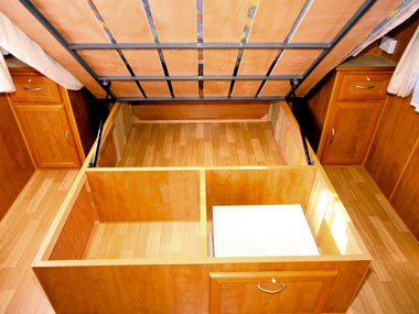 under bed storage in Retreat Caravans Hayman