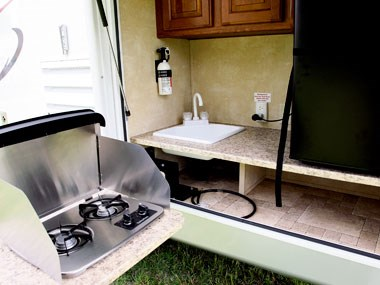 CruiserRV Fun Finder X caravan inside kitchen and stove