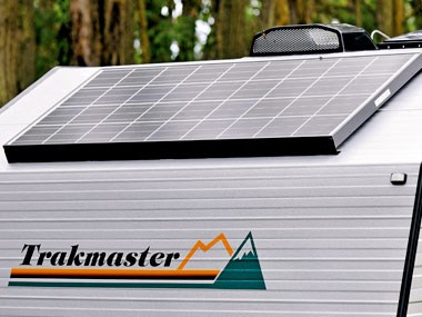 solar power power panels on the roof on the Trakmaster Nullarbor caravan