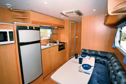 A'van Jenna HT 624 caravan lounge, dinette and fridge