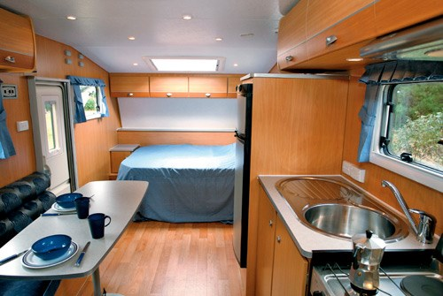 A'van Jenna HT 624 caravan dinette and kitchen sink view