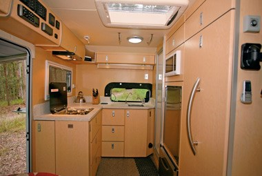 slr caravans adventurer 4x4 motorhome interior kitchen and entrance