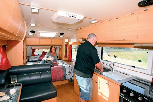 Exclusive Caravans Walk-A-Bout 620ST lounge and kitchen area