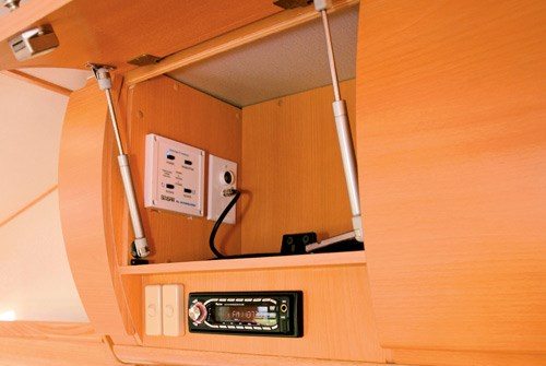 Exclusive Caravans Walk-A-Bout 620ST stereo controls and storqage
