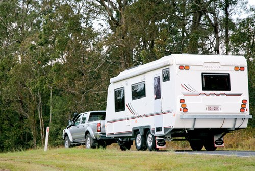 Exclusive Caravans Walk-A-Bout 620ST being towed
