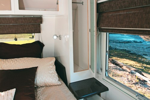 Otron Caravans Signature Series 3 caravan bed and windoe view